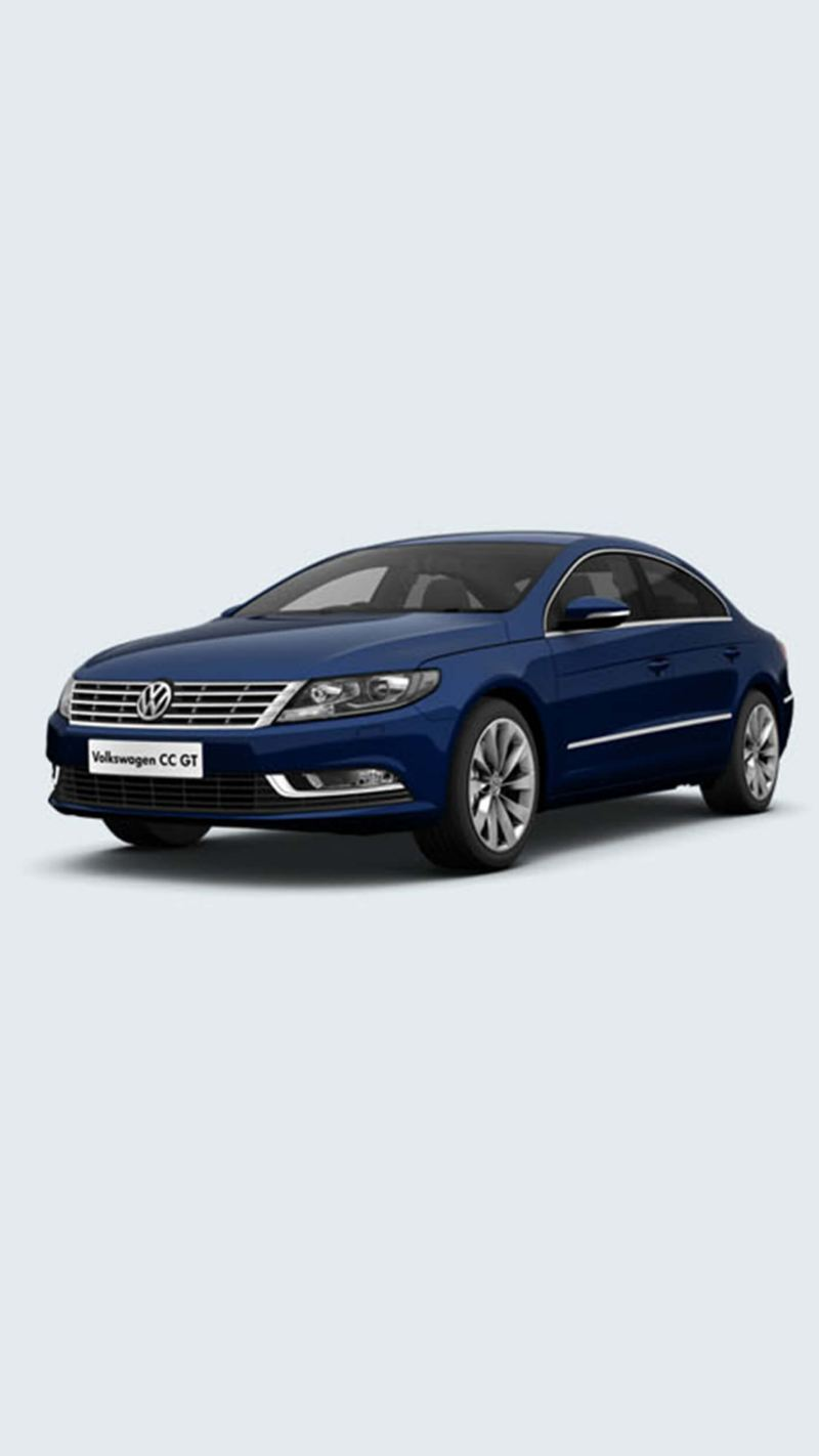 3/4 front view of a blue Volkswagen CC.