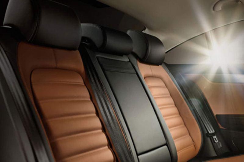 Interior shot of rear seats in a Volkswagen CC.