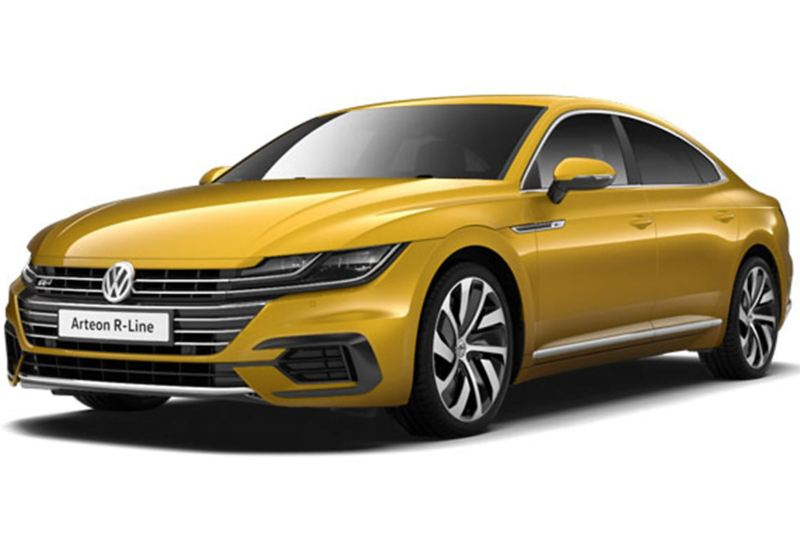 3/4 front view of a yellow Volkswagen Arteon R-Line.