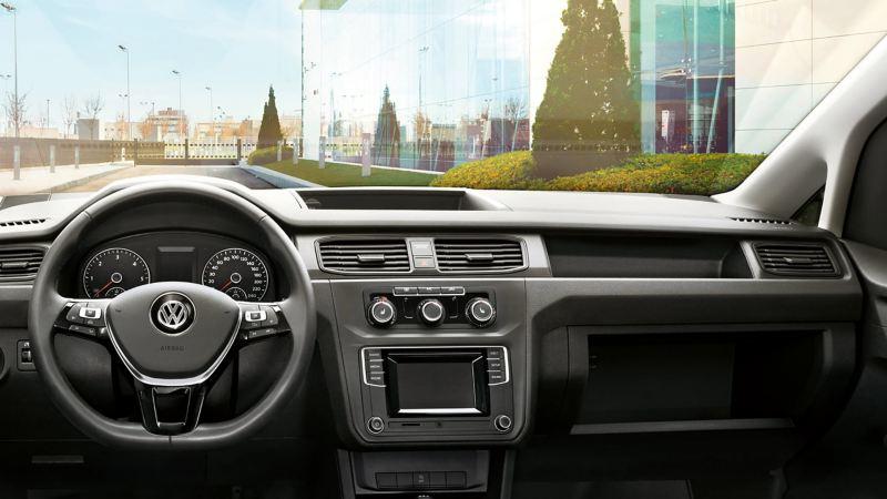 vw Volkswagen Caddy liten varebil interiør førerhus