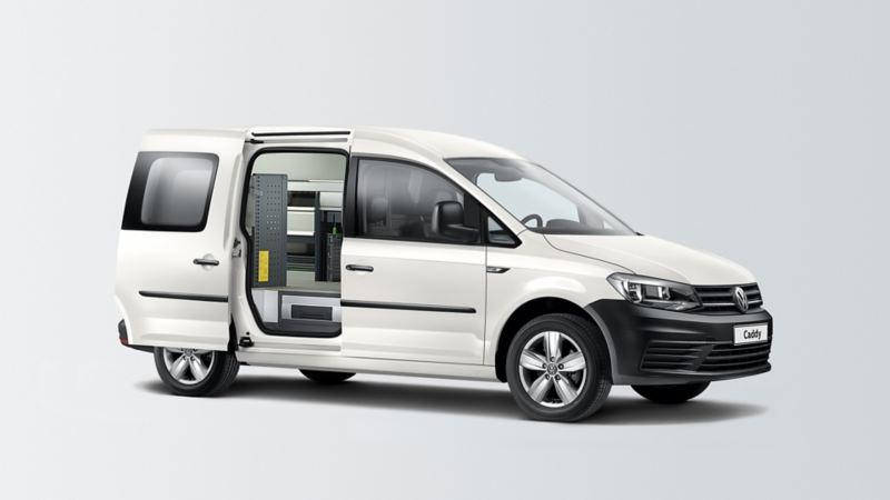De Caddy Maxi Van werkplaats wit 3/4 grijs achtergrond