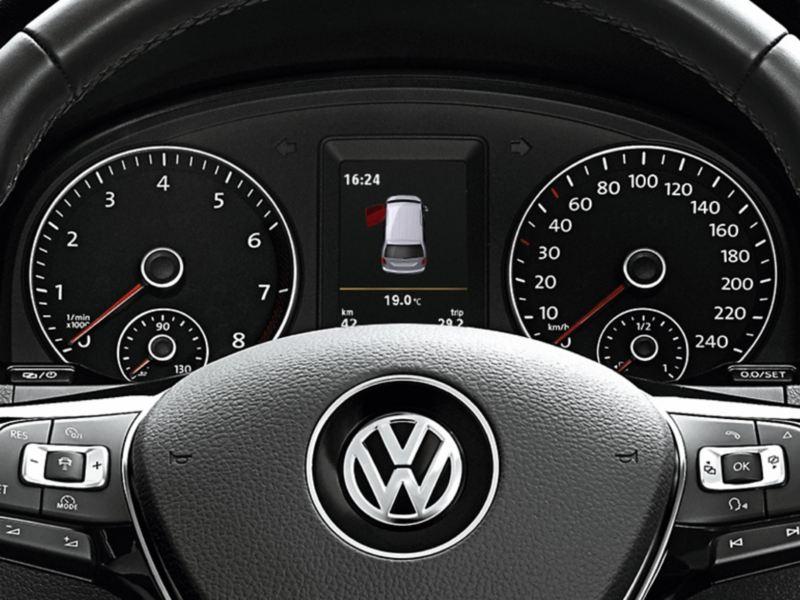 "Ilustração do visor multifunções ""Premium"" da Volkswagen."