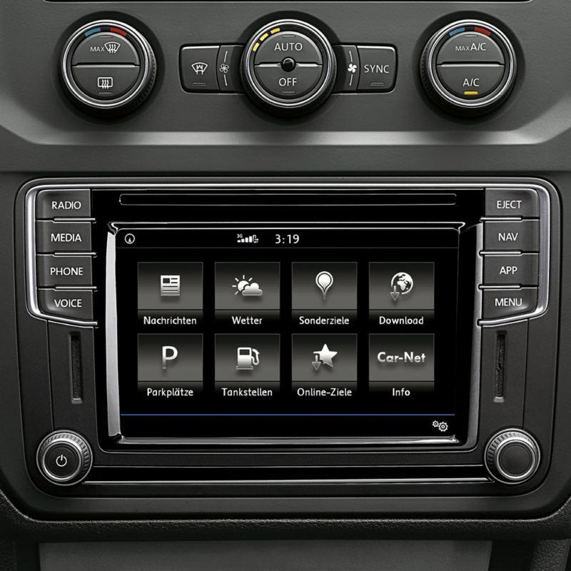 O visor da aplicação Car-Net da Volkswagen em detalhe.
