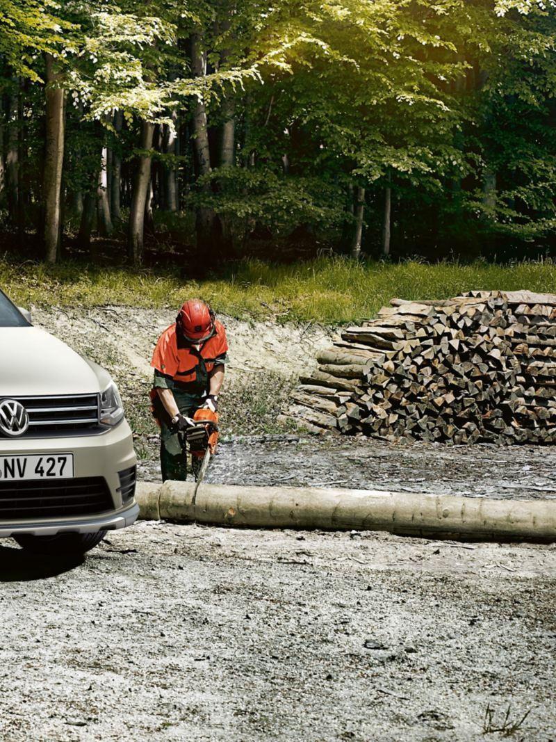 vw Volkswagen Caddy alltrack liten varebil 4x4 firehjulstrekk 4MOTION skog trefelling