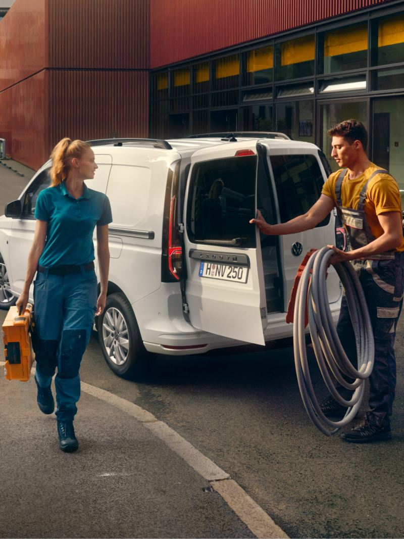 The new Volkswagen Caddy Cargo being used by tradesmen.