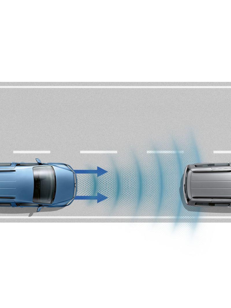 Dwa samochody z góry. Pojazd z tyłu wysyła fale radarowe w kierunku pojazdu z przodu.