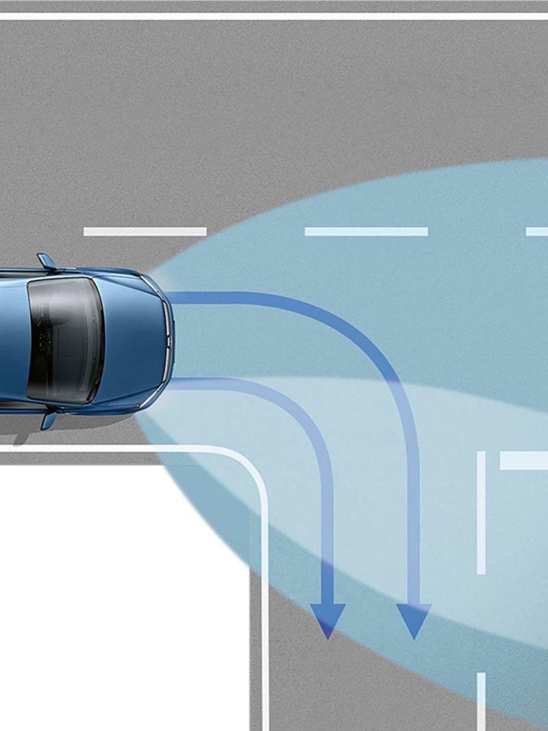 Dimljus med integrerade kurvljus i VW Caddy Skåp