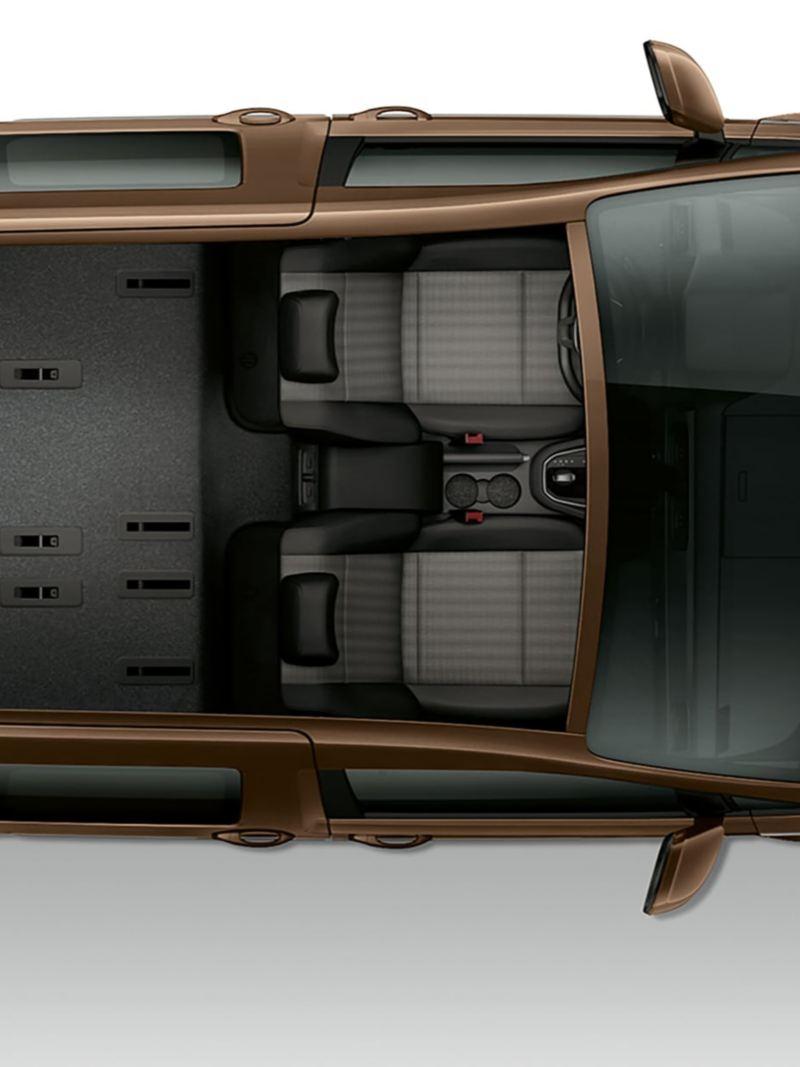 Caddy ouvert d'en haut. Il ne comprend que les sièges du conducteur et du passager avant, un grand espace de chargement est visible à l'arrière.
