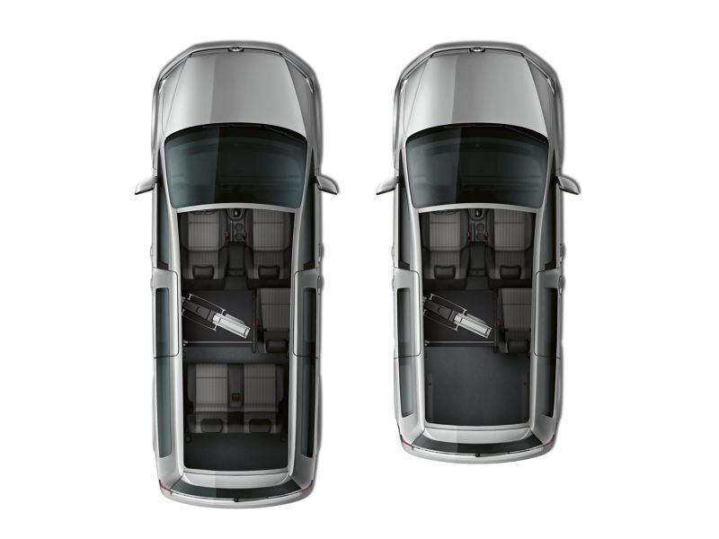 Die Innenräume zweier Fahrzeuge aus der Vogelperspektive.