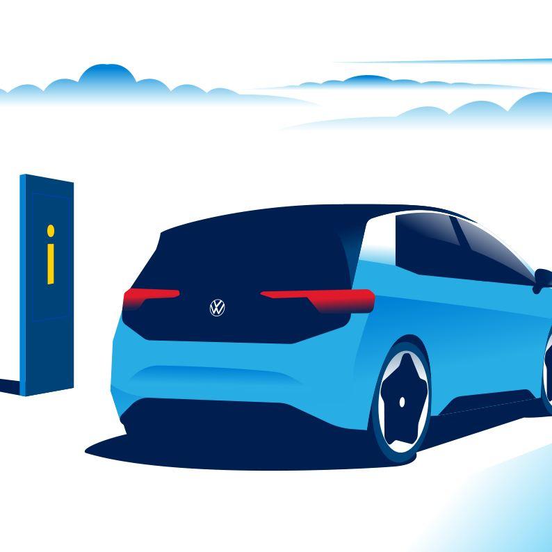 Elektroauto mit Wegweiser
