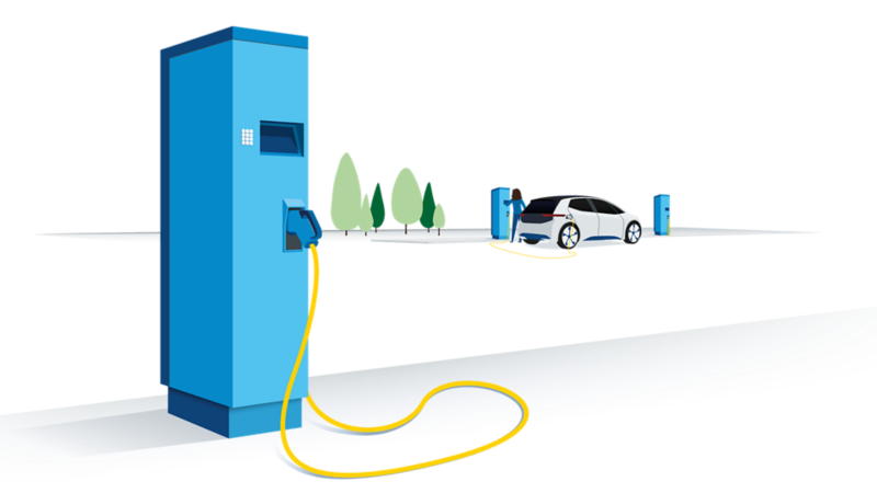 Electric vehicle that is being charged at a public charging station