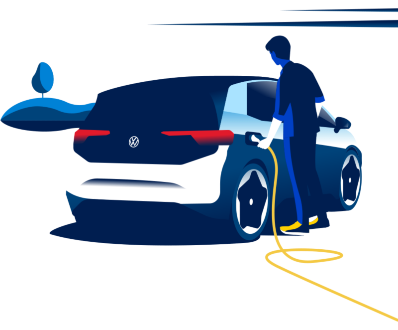 Illustration of a man charging his electric vehicle