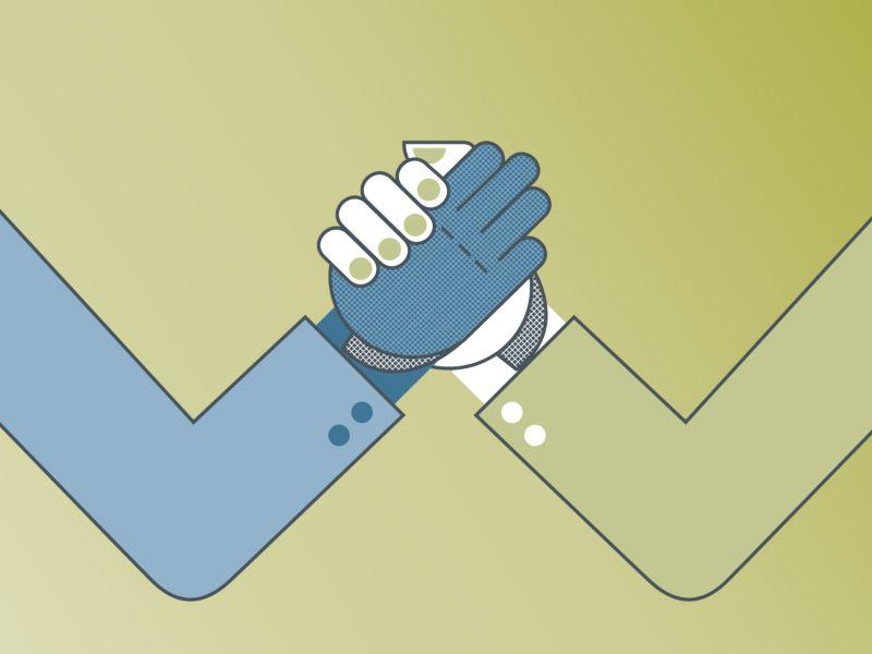 Eine Grafik von zwei Armen die die Hände geschäftlich einschlagen.
