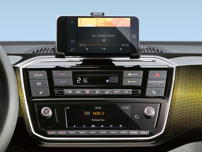 Interior dashboard and radio shot of a Volkswagen up!