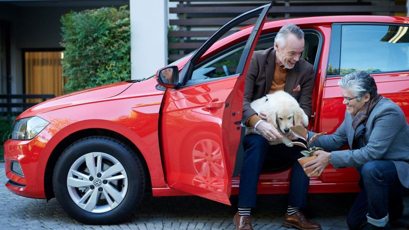 Men with dog in car