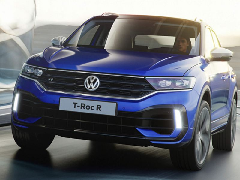 A close up of the T-Roc R, in blue.