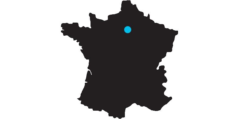 Umriss der Karte von Frankreich mit Markierung auf der Lage von Paris