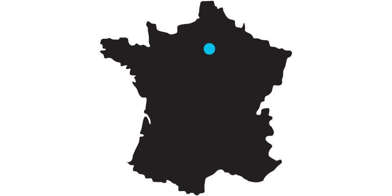 Outline of a map of France with a mark on the location of Paris