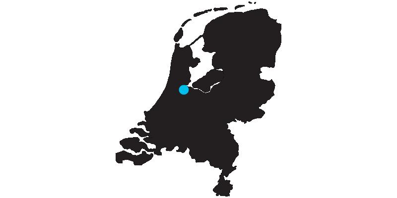 Silhouette d'une carte des Pays-Bas avec l'emplacement d'Amsterdam