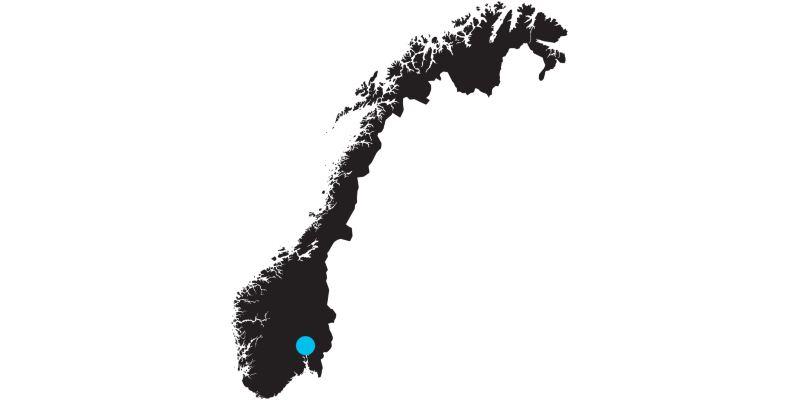 Carte de la Norvège avec indication de la position d'Oslo