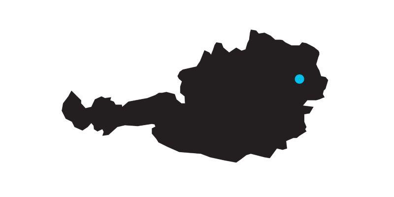 Carte de l'Autriche avec indication de la position de Vienne