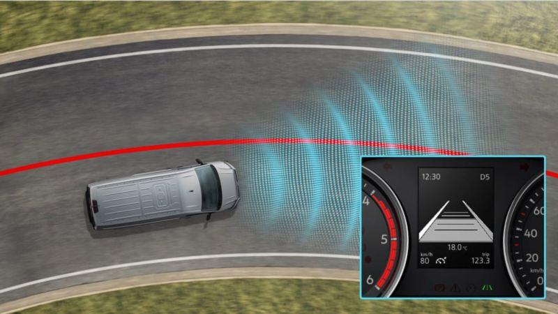 vw Volkswagen Multivan 6.1 Highline 7-seter familiebil minivan maxitaxi persontransport førerassistentsystem assistentsystem sikkerhetssystem lane assist