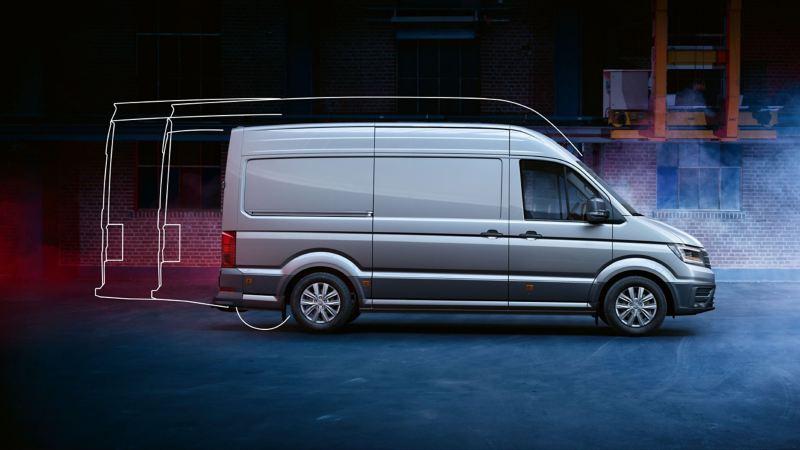 vw Volkswagen grå e-Crafter stor kassebil budbil arbeidsbil el varebil elvarebil elektrisk ulike lengder og takhøyder