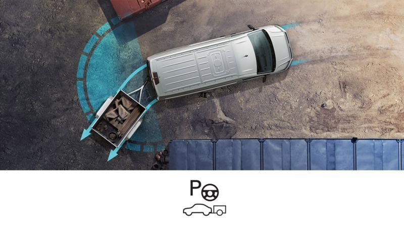 vw volkswagen førerassistentsystem assistentsystem sikkerhetssystem trailer assist trailerassist tilhengerassistent rygge tilhenger parkere 3-seter crafter stor varebil kassebil