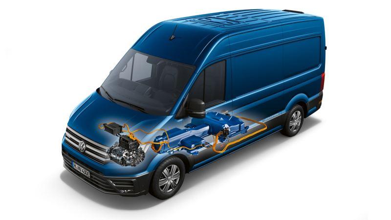 Kraftelektronik i VW e-Crafter elbil lätt lastbil