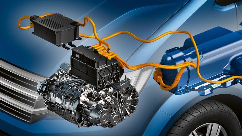 Ein Motor im Motorraum.