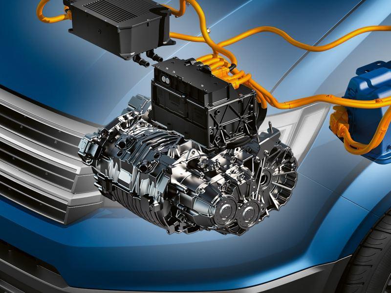 Eine Konzeptzeichnung eines Elektromotors in einem Fahrzeug.