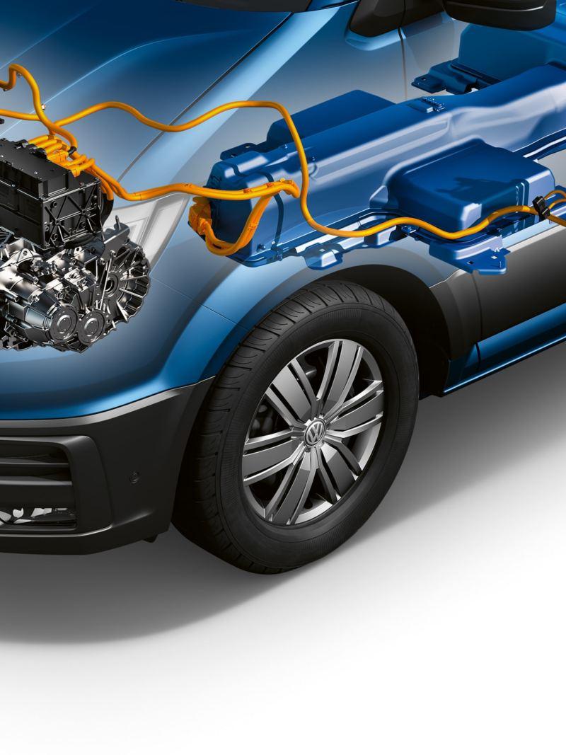 Eine Konzeptzeichnung eines Elektroantriebs in einem Fahrzeug.