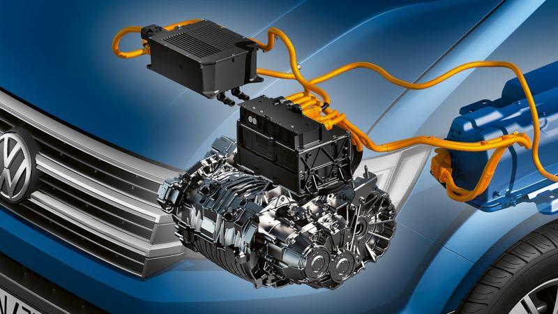 Illustration av elmotorn i VW e-Crafter elbil lätt lastbil