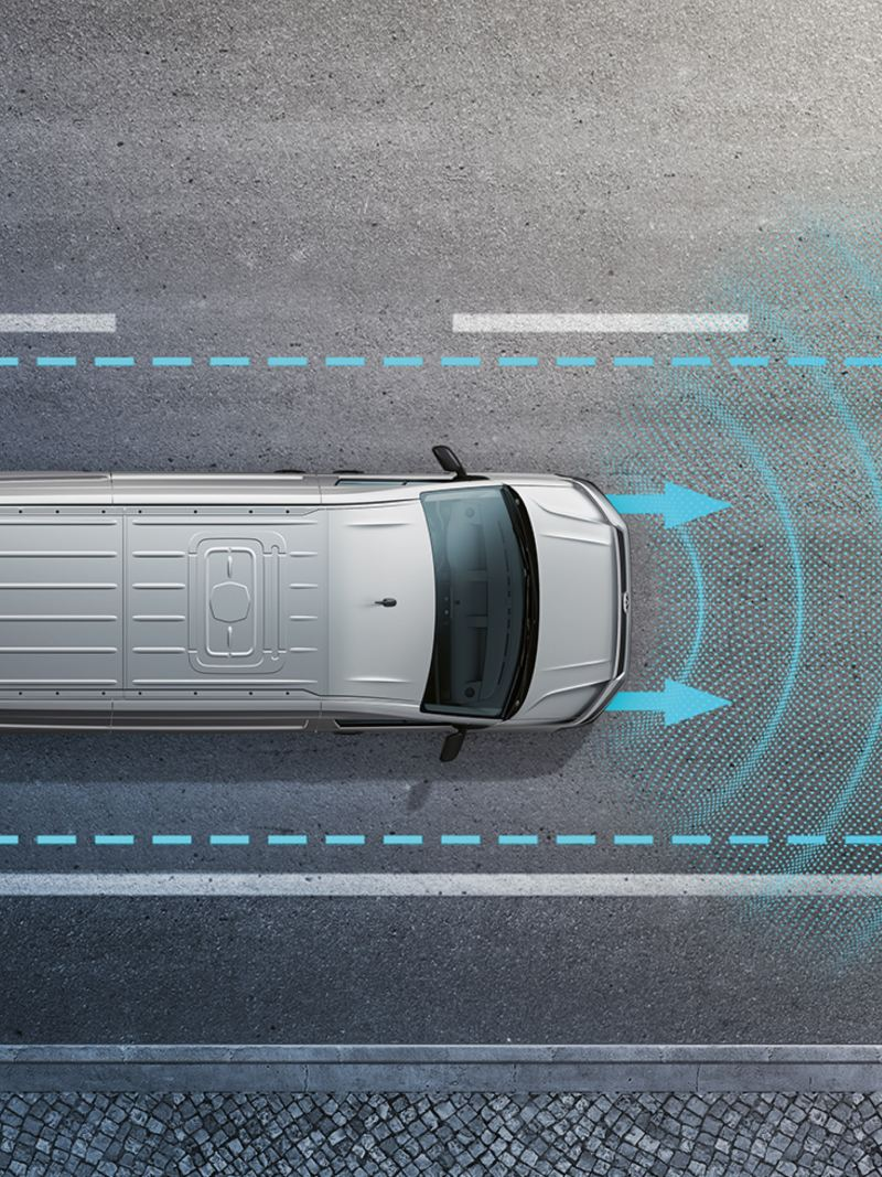 Illustration of the Lane Assist driver assistance system.
