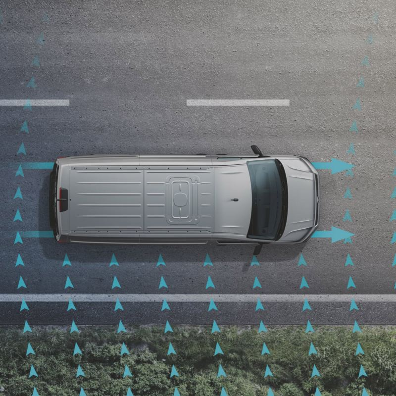 vw Volkswagen Crafter kassebil varebil stor firmabil sjåfør sikkerhetssystem assistentsystem førerassistentsystem sidevindassistent crosswindassist