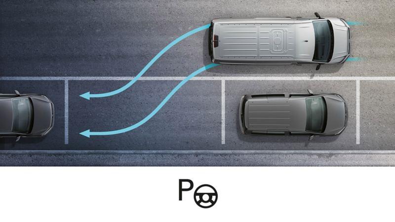 vw volkswagen førerassistentsystem assistentsystem sikkerhetssystem park assist parkeringsassistent caddy liten 3-seter crafter varebil kassebil