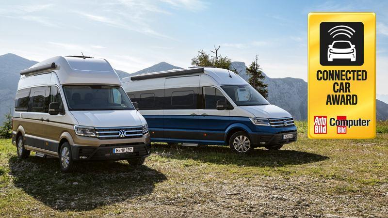 Der Grand California 600 und 680 parkend auf einer Bergwiese.
