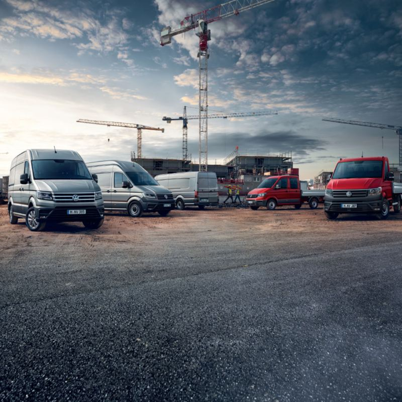 Gamme Crafter Volkswagen Véhicules Utilitaires chantier, gris, rouge, crafter plateau