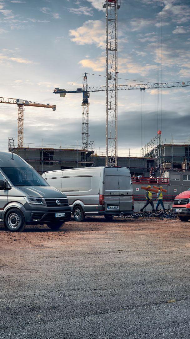 Illustration offre gamme Crafter gris rouge van plateau châssis chantier