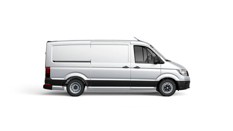 Hopeinen Volkswagen Crafter kuvattuna sivulta