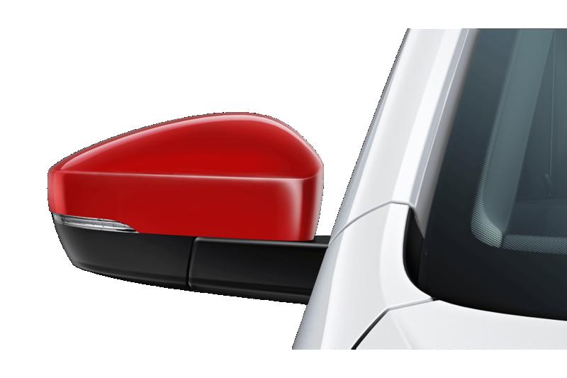 Aussenspiegel des VW up! beats mit roten Spiegelkappen