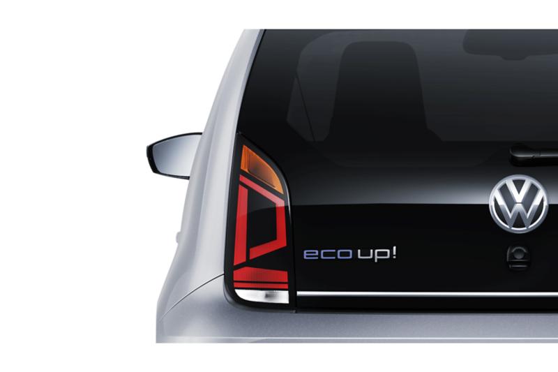 Ausschnitt des Hecks der VW eco up! mit Schriftzug