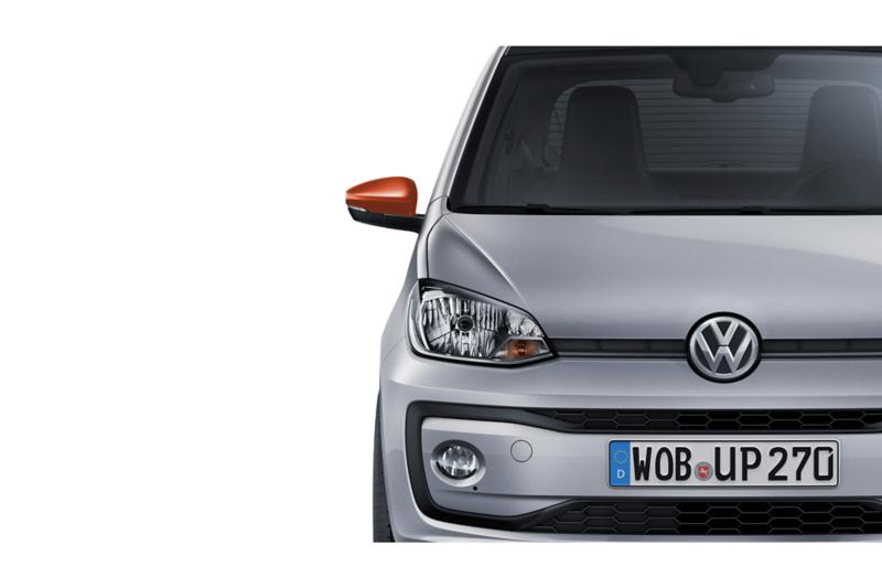 Ausschnitt der Front VW eco up! mit farblich abgesetzter Spiegelkappe