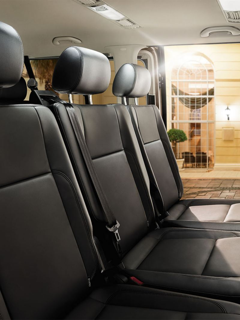 Interior view of a VW Transporter Kombi, back seats