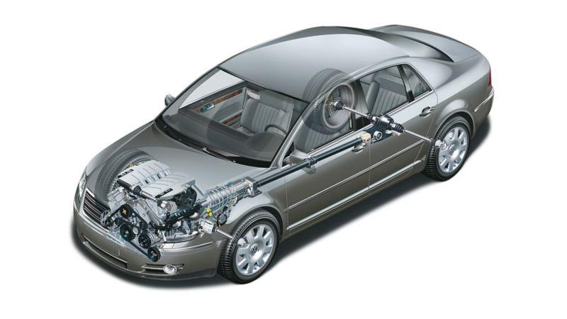 Schematyczne przedstawienie systemu zarządzania energią akumulatora w Volkswagenie