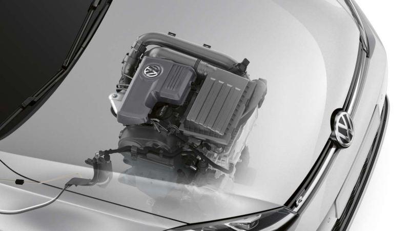 Volkswagen där man ser motor under huven genom en digital genomskärning