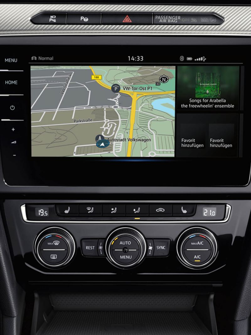 In built sat-nav showing inside a Volkswagen.