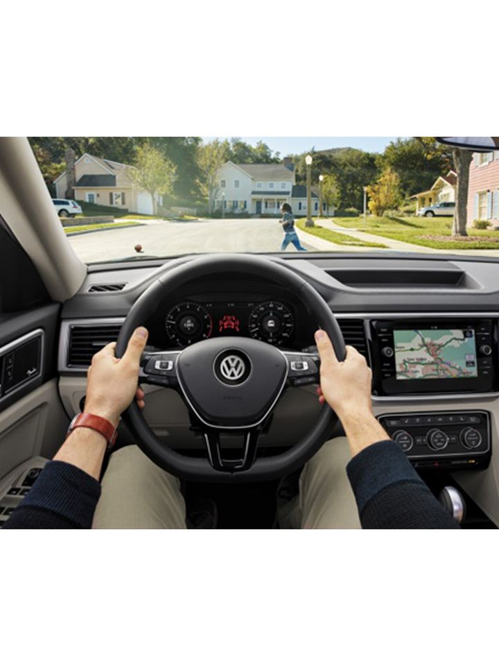 First-person view of driving a Volkswagen interior