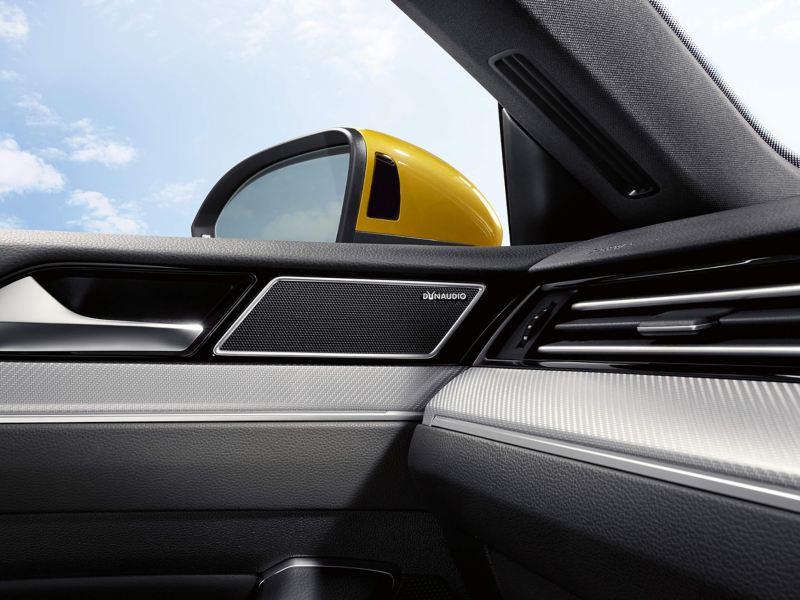 Interior shot of the front passenger door, Dynaudio speaker.