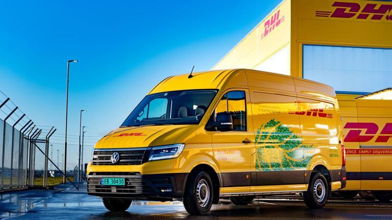 DHL vw Volkswagen e-Crafter el varebil elektrisk varebil elbil elvarebil budbil Enova støtte klimarabatt nullutslippsfondet